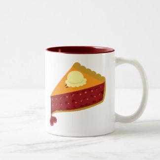 Coeur de tarte aux cerises mug bicolore