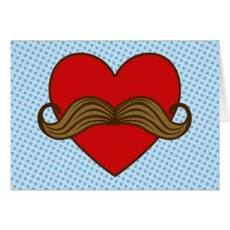 Coeur de Valentine de moustache Carte De Vœux