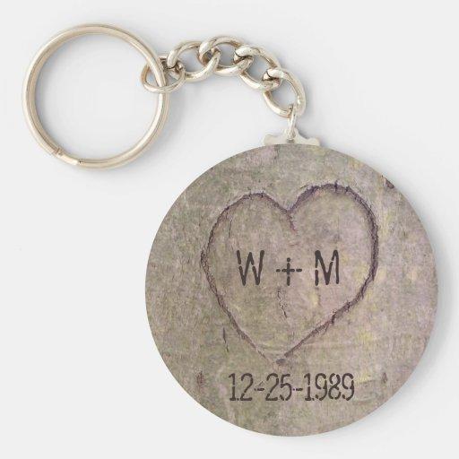 Coeur découpé dans un arbre Keychain personnalisab Porte-clés