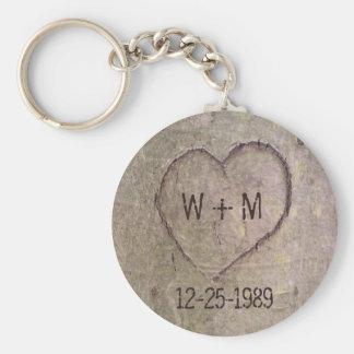 Coeur découpé dans un porte - clé personnalisable porte-clé rond