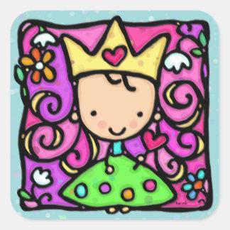 Coeur d'or de couronne de petite princesse girly autocollants carrés