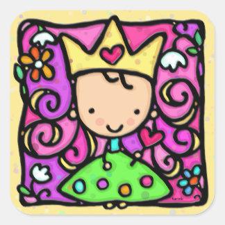 Coeur d'or de couronne de petite princesse girly autocollant carré