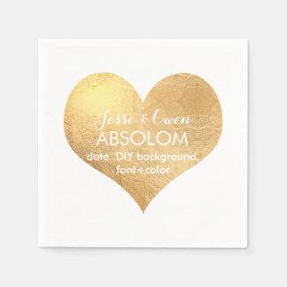 Coeur d'or de PixDezines/aluminium de faux Serviette En Papier
