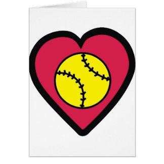 Coeur du base-ball carte de vœux