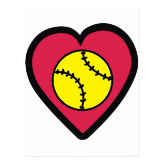 Coeur du base-ball cartes postales