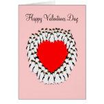 Coeur heureux de pingouin de jour de Valentines Carte De Vœux