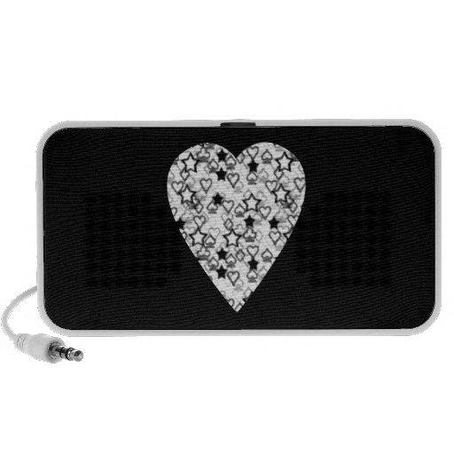 Coeur noir et blanc. Conception modelée de coeur Haut-parleur Ordinateur Portable