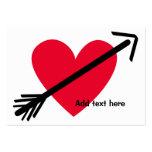 Coeur rouge personnalisé avec la Saint-Valentin de Carte De Visite Grand Format