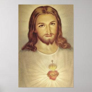 Coeur sacré de classique d'affiche de Jésus Poster