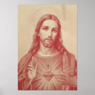 Coeur sacré de cru d'affiche de Jésus Poster