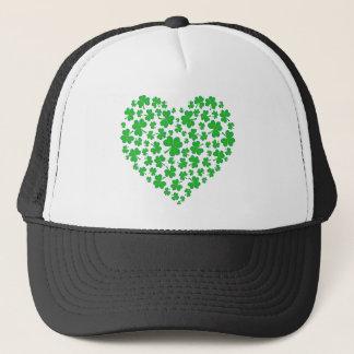Coeur vert irlandais de shamrock casquette