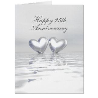 Coeurs argentés d'anniversaire carte de vœux grand format