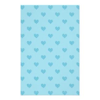 Coeurs bleus stationnaires motifs pour papier à lettre