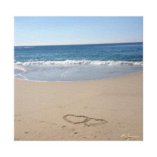 Coeurs dans la toile de sable impressions sur toile