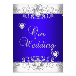 Coeurs de diamant d argent de mariage de bleu roya carton d'invitation