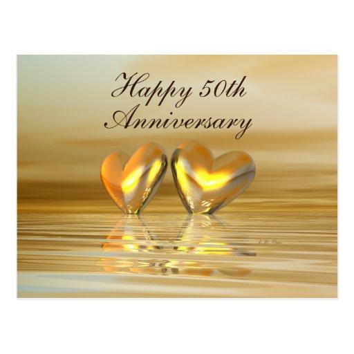 Coeurs d'or d'anniversaire carte postale