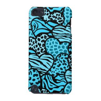 Coeurs girly bleus et noirs de poster de animal coque iPod touch 5G