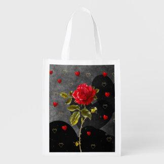 Coeurs grunges noirs avec le rose rouge sac d'épicerie