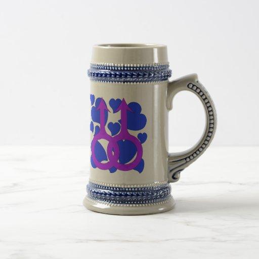 Coeurs masculins gais de mariage tasses à café