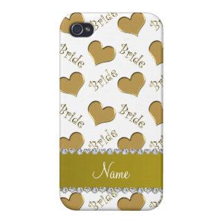 Coeurs nommés faits sur commande de jeune mariée étui iPhone 4/4S
