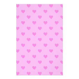 Coeurs roses stationnaires papier à lettre personnalisé
