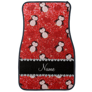 Coeurs rouges au néon nommés personnalisés de tapis de sol