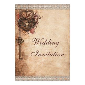 Coeurs vintages serrure et mariage de clé carton d'invitation  12,7 cm x 17,78 cm