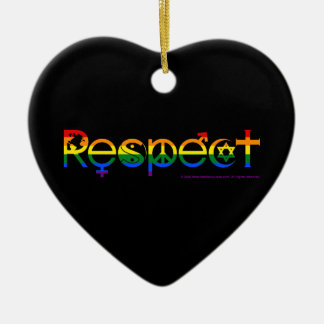 Coexist with Respect Gay Pride Ceramic Heart Ornament