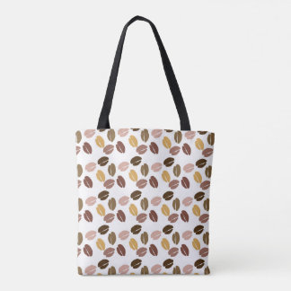 Coffe beans pattern cappuccino tote bag