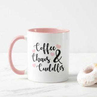 Coffe Chaos & Cuddles - pink Mug