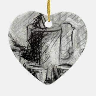 Coffe designed by Adrian Dica Ceramic Heart Ornament