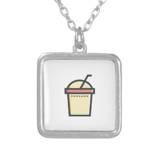 Coffe Soft Drink Silver Plated Necklace
