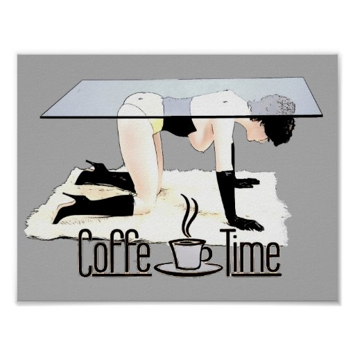 Coffe Time! In funny BDSM, bondage way, cartoon Poster