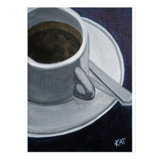 Coffee 5x7 Acrylic on Canvas board, @Kathleen Carr Postcard