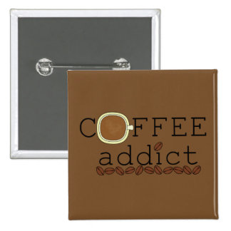 Coffee Addict Beans - Change Color 2 Inch Square Button