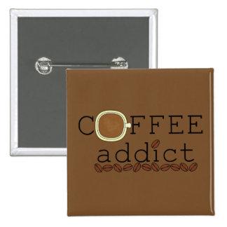 Coffee Addict Beans - Change Color 2 Inch Square Button