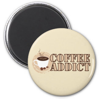 Coffee Addict Mug and Beans 2 Inch Round Magnet