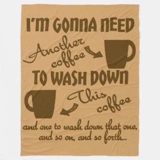 Coffee Adoration Caffeine Humor Fleece Blanket
