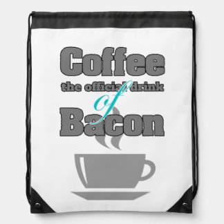 coffee and bacon drawstring bags