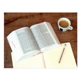Coffee and book postcard