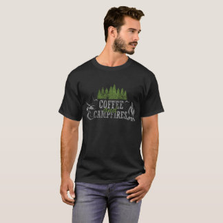Coffee And Campfires Funny Camping Distresssed T-Shirt