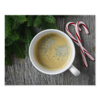 Coffee and Candy Cane for the Holidays Photographic Print