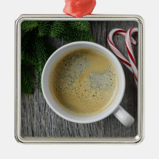 Coffee and Candy Cane for the Holidays Silver-Colored Square Ornament