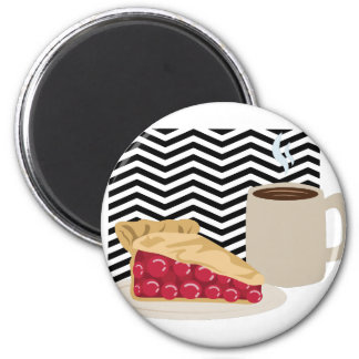 Coffee And Cherry Pie 2 Inch Round Magnet