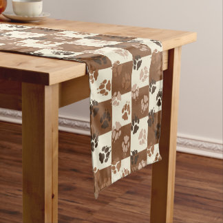 Coffee and Cream Checkered Paw Print Pattern Short Table Runner