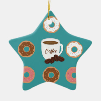Coffee and Donuts Ceramic Ornament