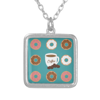 Coffee and Donuts Silver Plated Necklace
