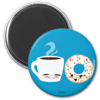 Coffee and Doughnut Pals 2 Inch Round Magnet