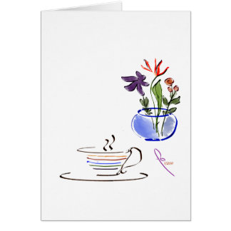 coffee and flowers card