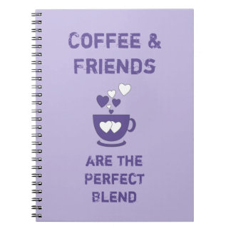 Coffee and friends purple notebooks